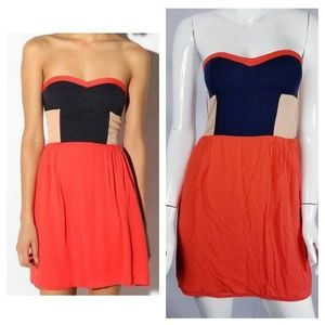 Sparkle and Fade UO Color Block Strapless Dress